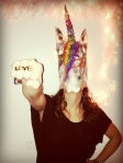 The unicorn masks were done by Sofia Palacios Blanco.